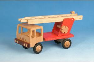 LKW Feuerwehr (rot) aus Holz